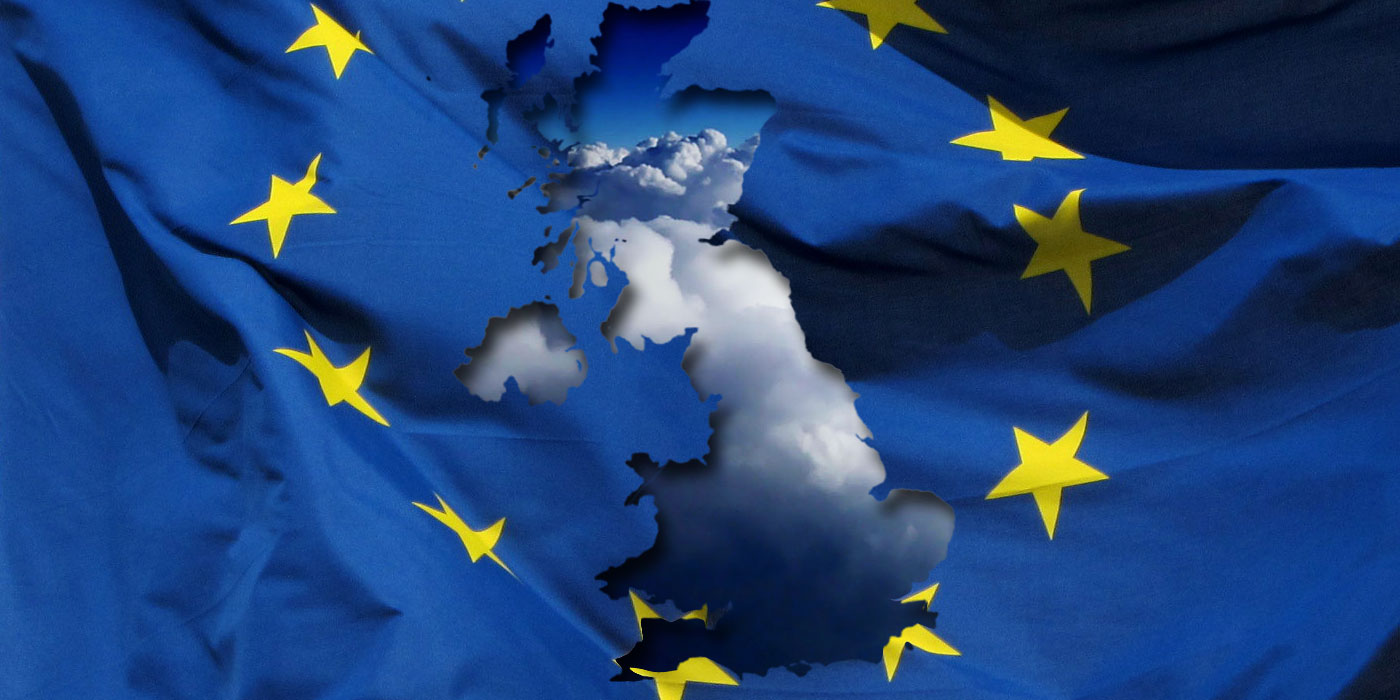 EU flag altered to show indistinct map of the UK