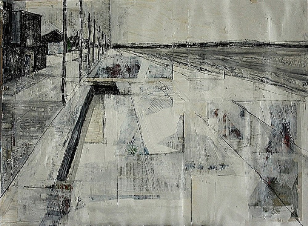 black and white rendering of Portobello Promenade in mixed media