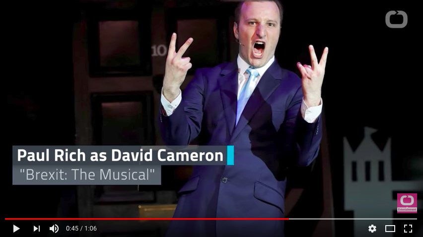 A screenshot of David Cameron played by Paul Rich in the satire, Brexit the Musical