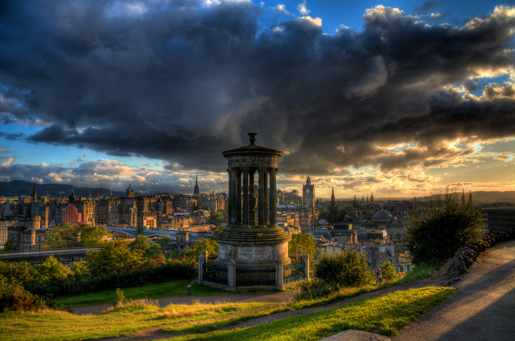 Sunset storm over Edinburgh, a dramatic sky illuminates Scotland's capital city. Image Andy Smith BY-NC-ND 2.0