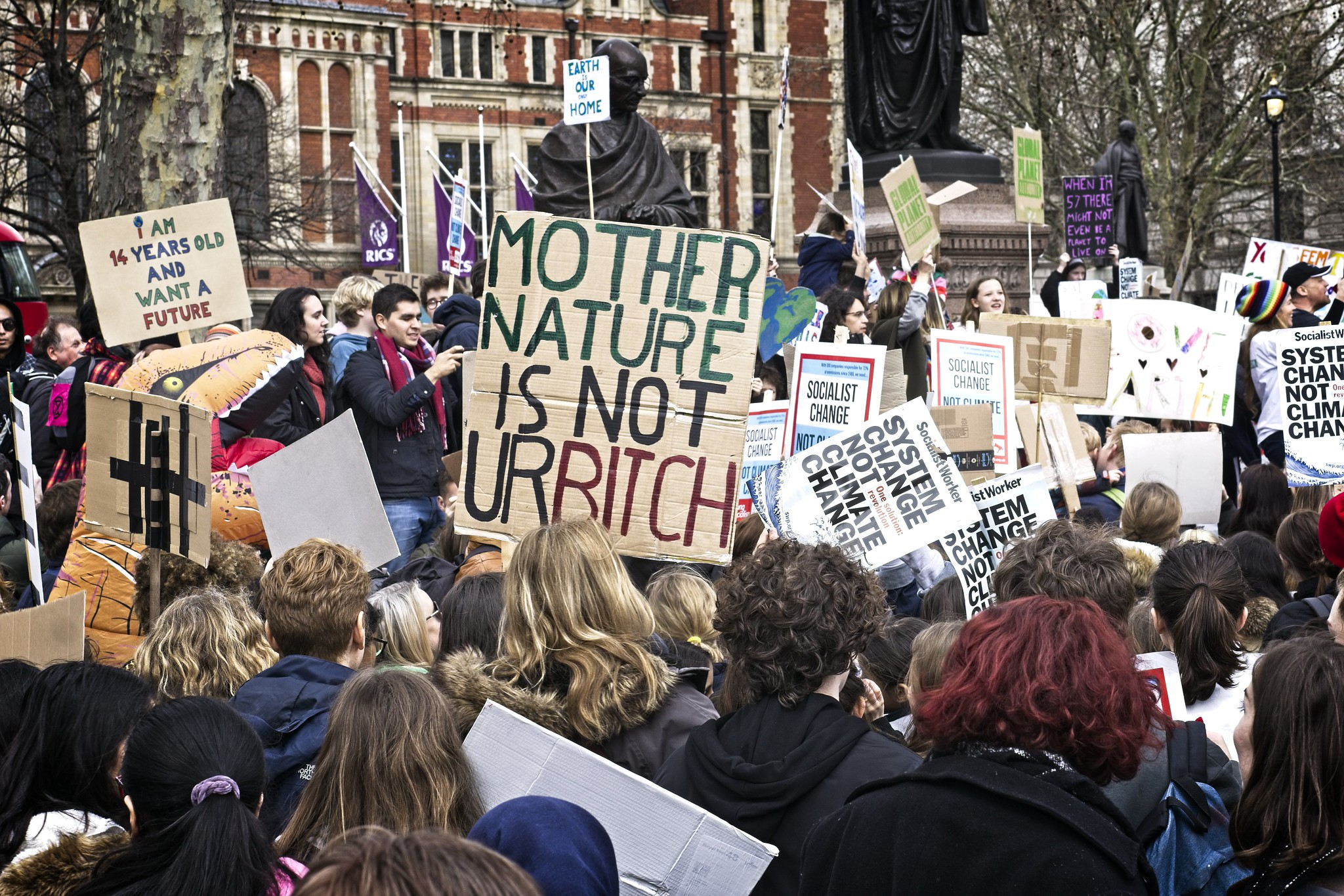 Young people on Global Climate strike in London March 2019. Picture by Garry Knight