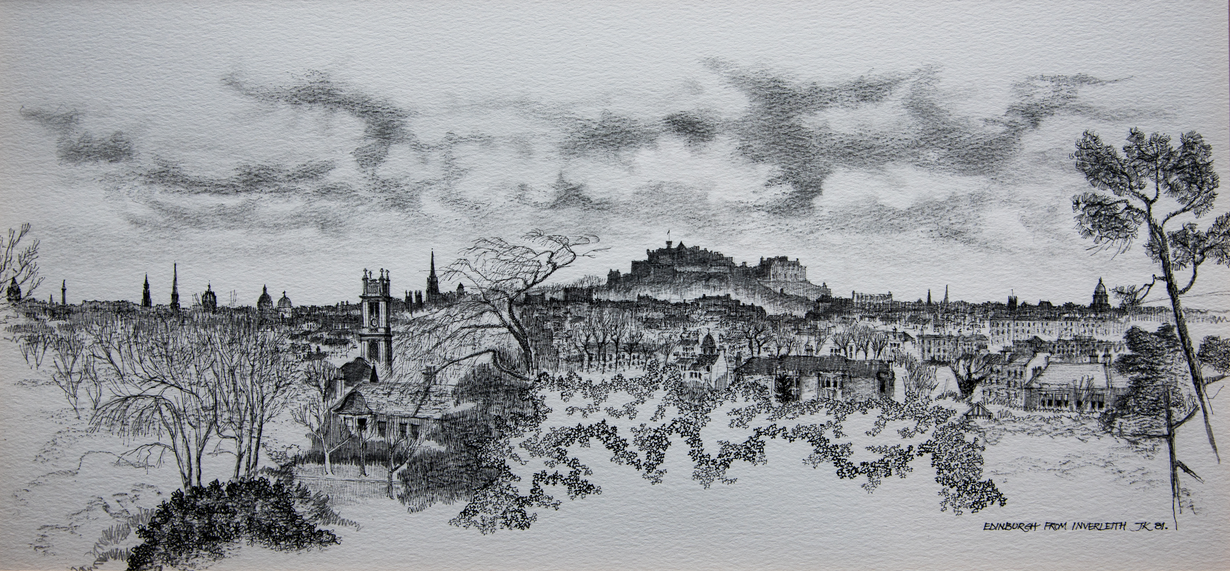 A panorama of Edinburgh in many shades of grey, by John Knight