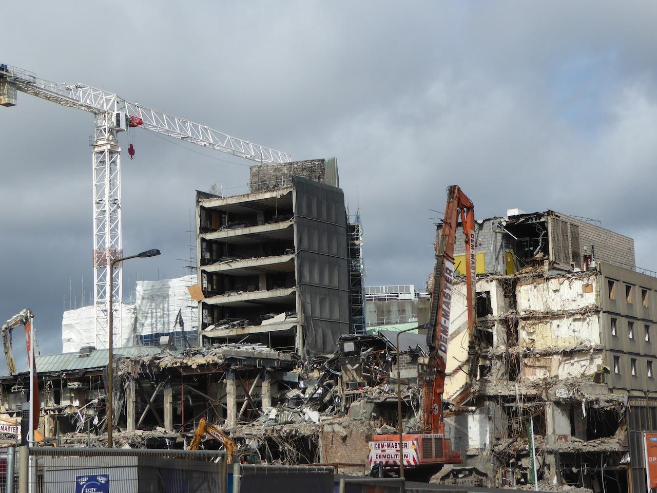 Demolishing St James Square – dramatic image of destruction